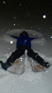 A snow angel in March? April? I can't even remember, the months blur together