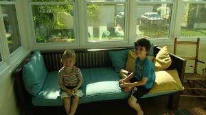boys in the sun room of our rental house