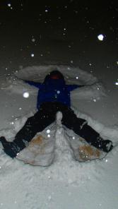 Last year, making snow angels